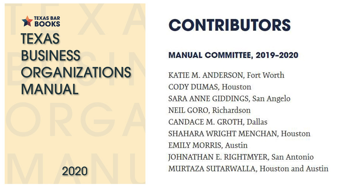 Texas Business Organizations Manual Published with Candace M Groth as Contributing Author